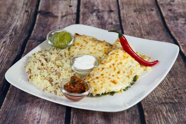 Chicken and spinach enchiladas